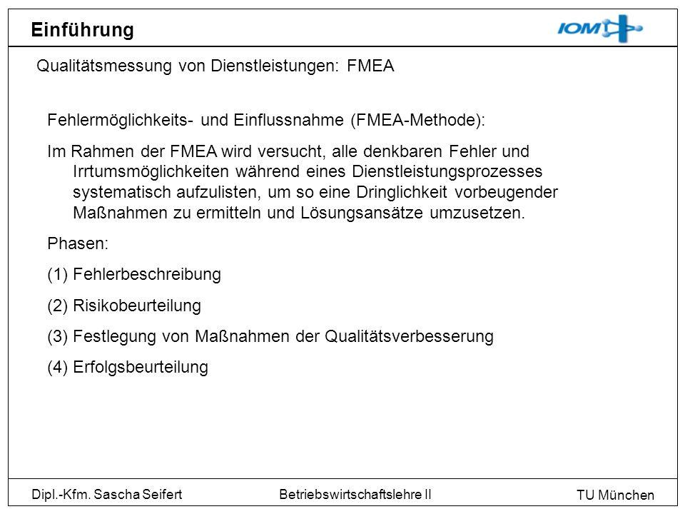 Dipl.-Kfm. Sascha Seifert TU München Betriebswirtschaftslehre II Einführung Qualitätsmessung von Dienstleistungen: FMEA Fehlermöglichkeits- und Einflu