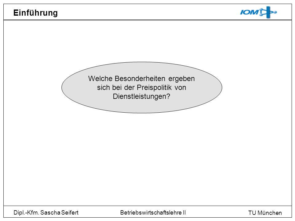 Dipl.-Kfm. Sascha Seifert TU München Betriebswirtschaftslehre II Einführung Welche Besonderheiten ergeben sich bei der Preispolitik von Dienstleistung