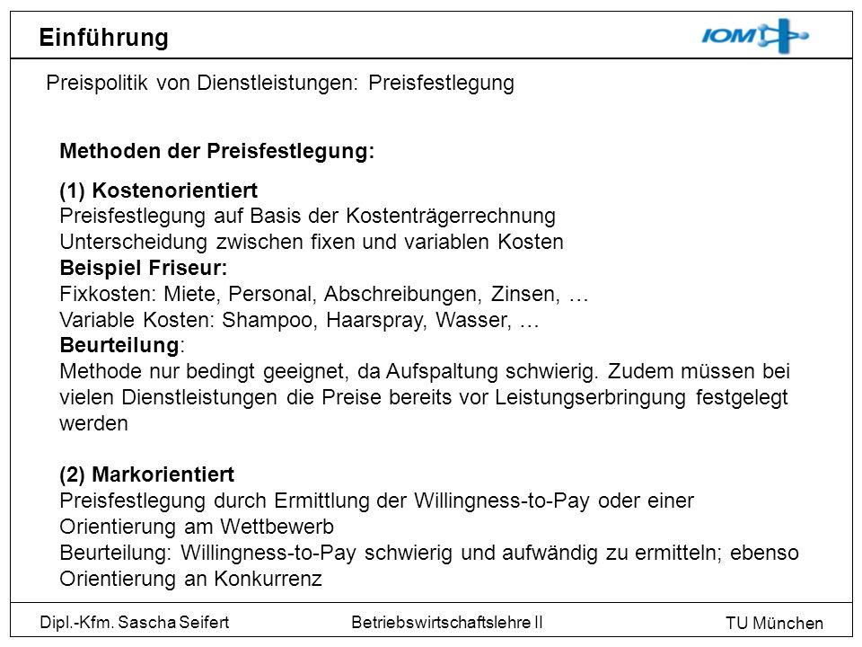 Dipl.-Kfm. Sascha Seifert TU München Betriebswirtschaftslehre II Einführung Preispolitik von Dienstleistungen: Preisfestlegung Methoden der Preisfestl