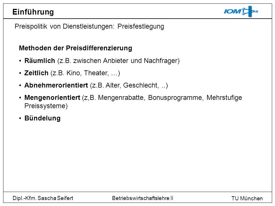 Dipl.-Kfm. Sascha Seifert TU München Betriebswirtschaftslehre II Einführung Preispolitik von Dienstleistungen: Preisfestlegung Methoden der Preisdiffe