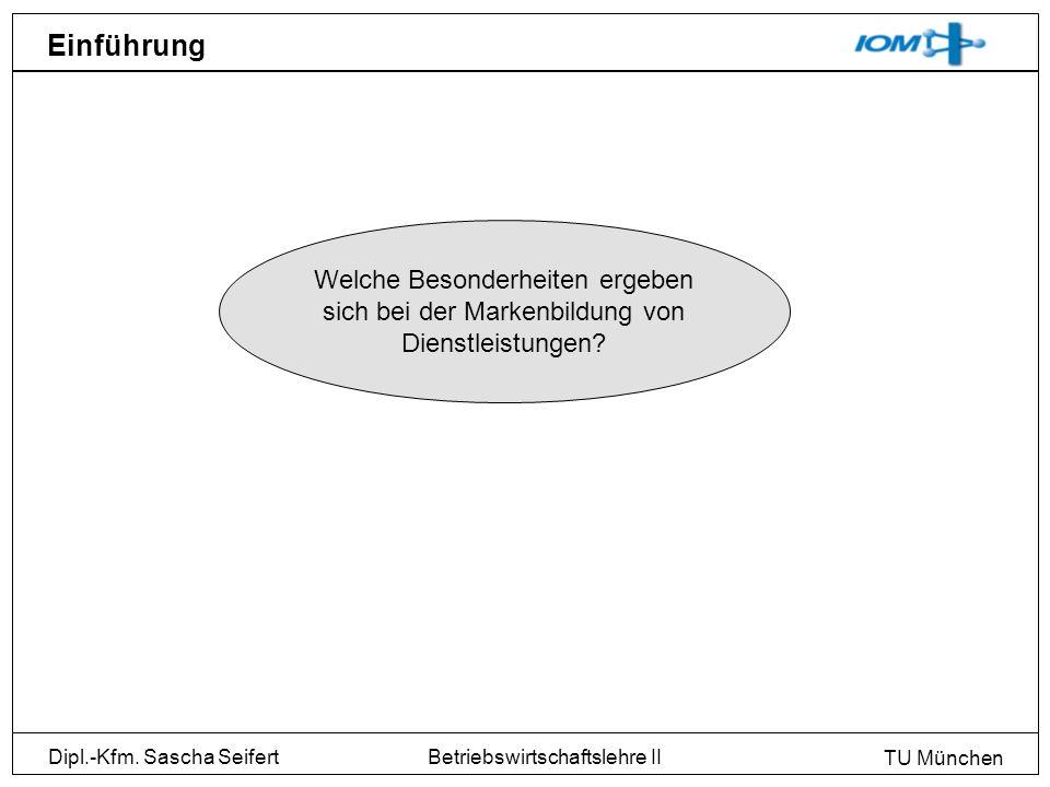 Dipl.-Kfm. Sascha Seifert TU München Betriebswirtschaftslehre II Einführung Welche Besonderheiten ergeben sich bei der Markenbildung von Dienstleistun