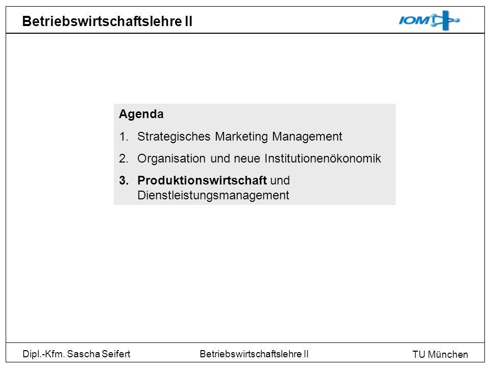 Dipl.-Kfm. Sascha Seifert TU München Betriebswirtschaftslehre II Agenda 1.Strategisches Marketing Management 2.Organisation und neue Institutionenökon