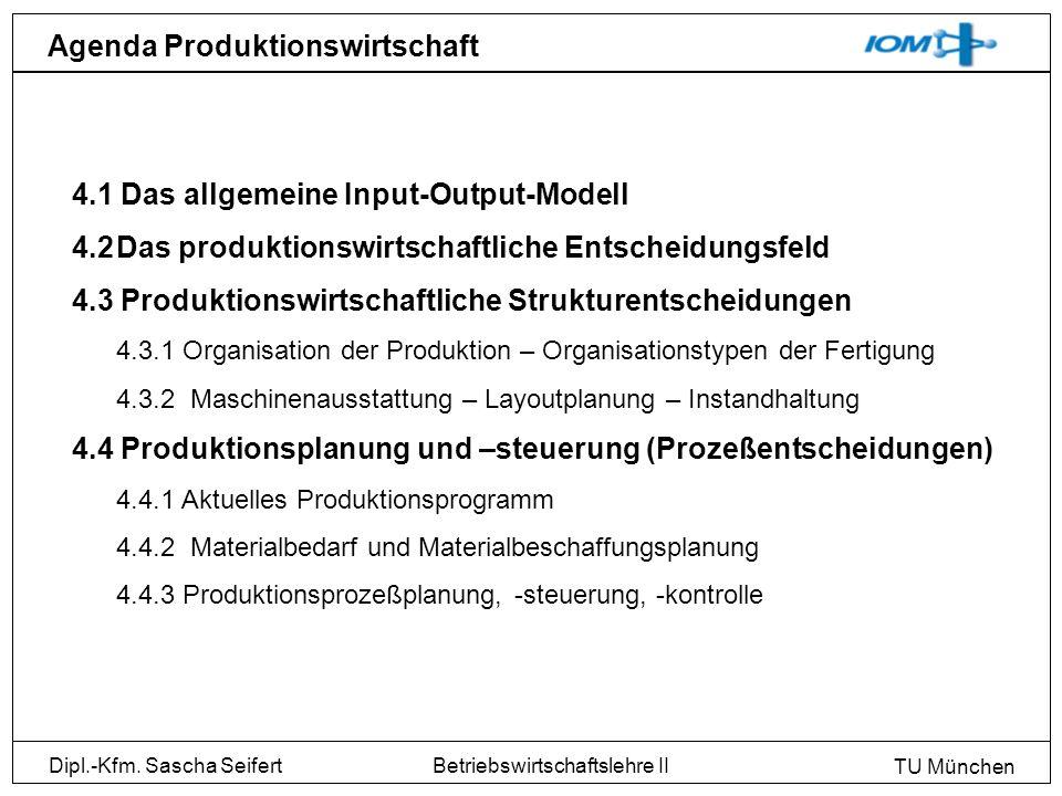 Dipl.-Kfm. Sascha Seifert TU München Betriebswirtschaftslehre II Agenda Produktionswirtschaft 4.1 Das allgemeine Input-Output-Modell 4.2Das produktion