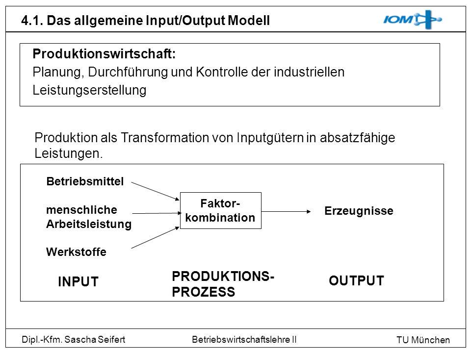 Dipl.-Kfm. Sascha Seifert TU München Betriebswirtschaftslehre II 4.1. Das allgemeine Input/Output Modell Produktionswirtschaft: Planung, Durchführung