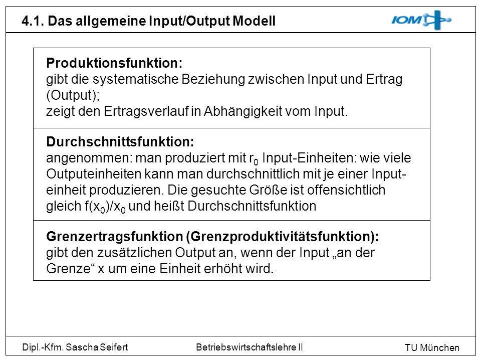 Dipl.-Kfm. Sascha Seifert TU München Betriebswirtschaftslehre II 4.1. Das allgemeine Input/Output Modell Produktionsfunktion: gibt die systematische B