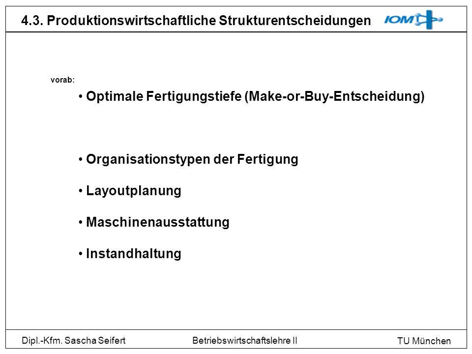 Dipl.-Kfm. Sascha Seifert TU München Betriebswirtschaftslehre II 4.3. Produktionswirtschaftliche Strukturentscheidungen Optimale Fertigungstiefe (Make