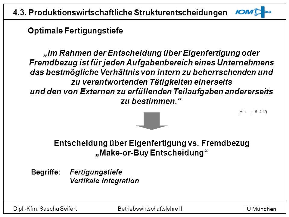 Dipl.-Kfm. Sascha Seifert TU München Betriebswirtschaftslehre II 4.3. Produktionswirtschaftliche Strukturentscheidungen Im Rahmen der Entscheidung übe