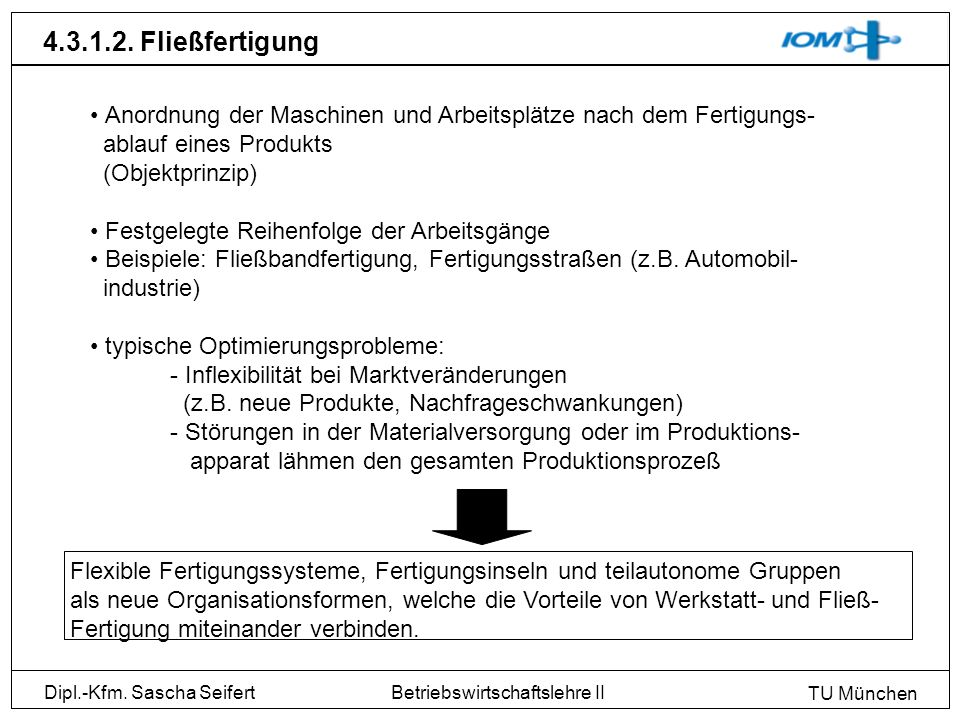 Dipl.-Kfm. Sascha Seifert TU München Betriebswirtschaftslehre II 4.3.1.2. Fließfertigung Anordnung der Maschinen und Arbeitsplätze nach dem Fertigungs