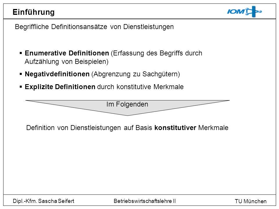 Dipl.-Kfm. Sascha Seifert TU München Betriebswirtschaftslehre II Einführung Begriffliche Definitionsansätze von Dienstleistungen Enumerative Definitio