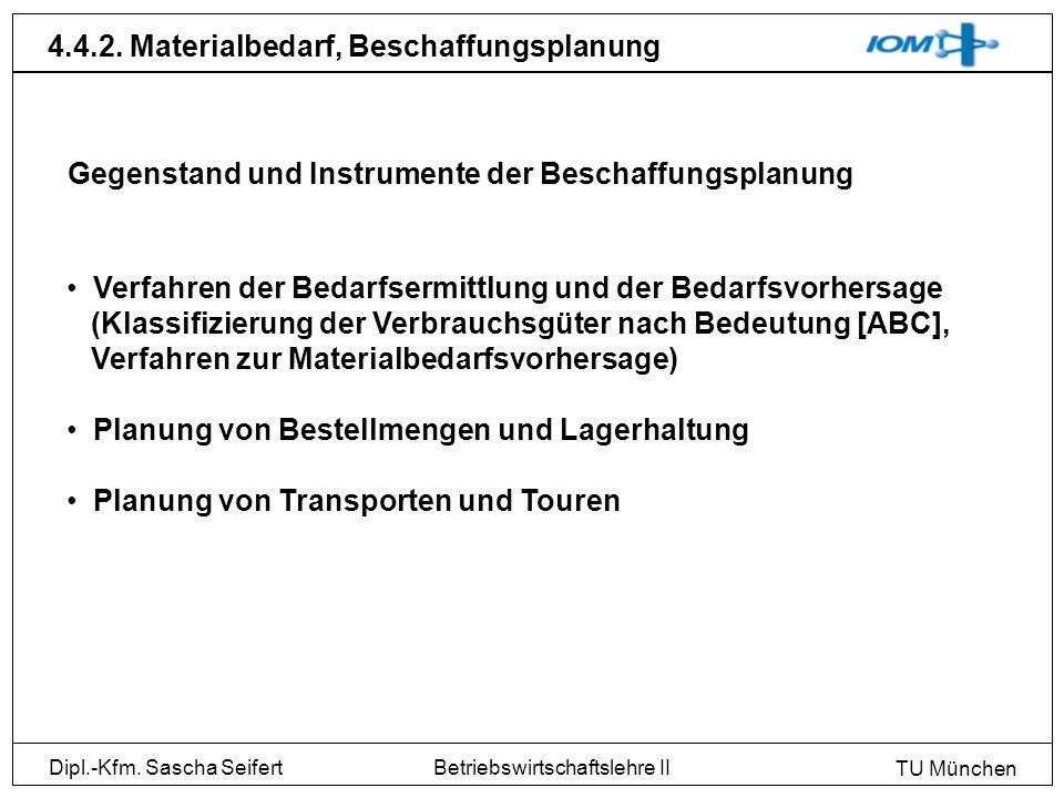 Dipl.-Kfm. Sascha Seifert TU München Betriebswirtschaftslehre II 4.4.2. Materialbedarf, Beschaffungsplanung Gegenstand und Instrumente der Beschaffung
