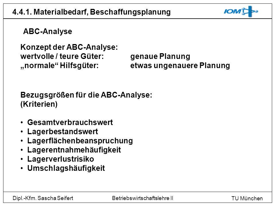 Dipl.-Kfm. Sascha Seifert TU München Betriebswirtschaftslehre II 4.4.1. Materialbedarf, Beschaffungsplanung Konzept der ABC-Analyse: wertvolle / teure