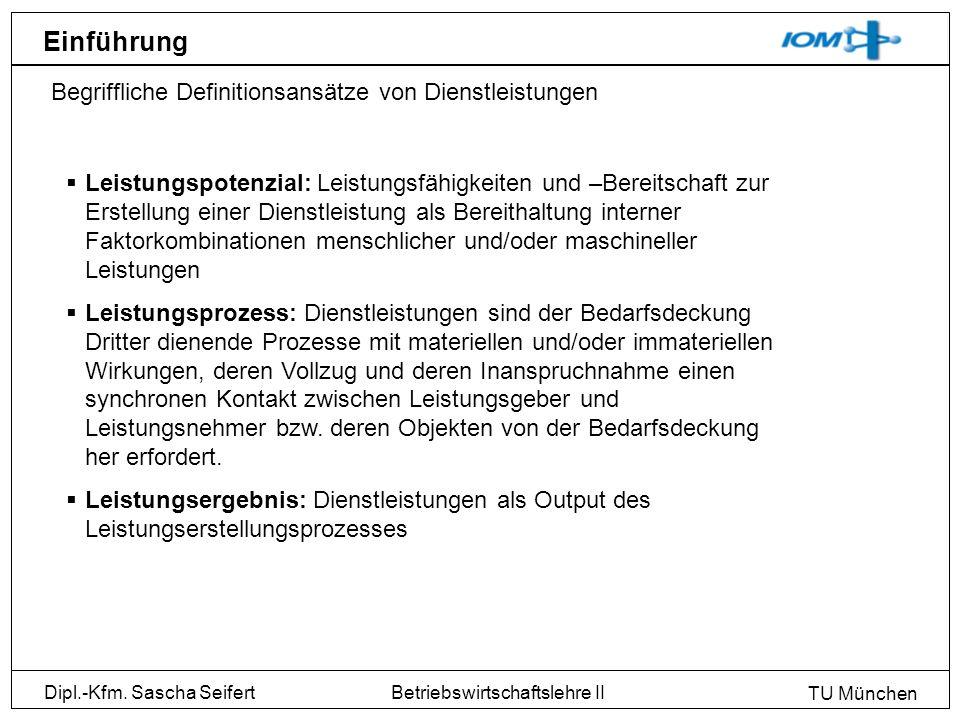 Dipl.-Kfm. Sascha Seifert TU München Betriebswirtschaftslehre II Einführung Begriffliche Definitionsansätze von Dienstleistungen Leistungspotenzial: L