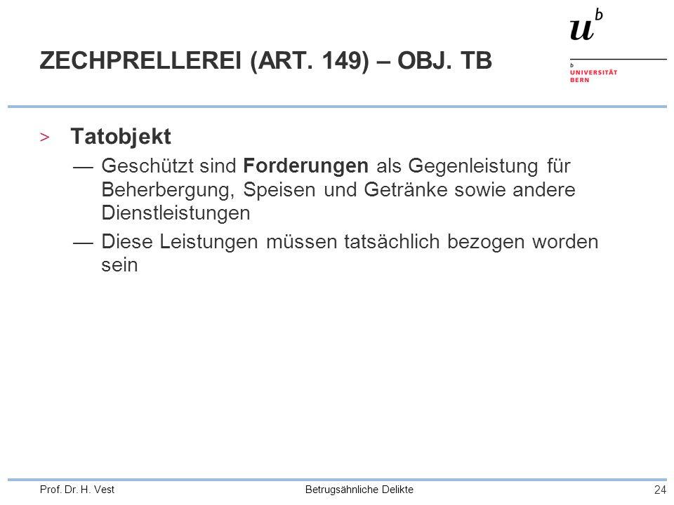 Betrugsähnliche Delikte 24 Prof. Dr. H. Vest ZECHPRELLEREI (ART. 149) – OBJ. TB > Tatobjekt Geschützt sind Forderungen als Gegenleistung für Beherberg