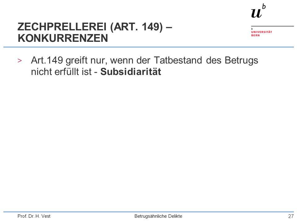 Betrugsähnliche Delikte 27 Prof. Dr. H. Vest ZECHPRELLEREI (ART. 149) – KONKURRENZEN > Art.149 greift nur, wenn der Tatbestand des Betrugs nicht erfül