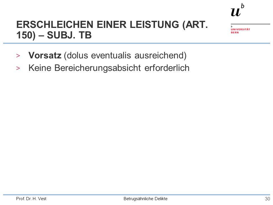 Betrugsähnliche Delikte 30 Prof. Dr. H. Vest ERSCHLEICHEN EINER LEISTUNG (ART. 150) – SUBJ. TB > Vorsatz (dolus eventualis ausreichend) > Keine Bereic