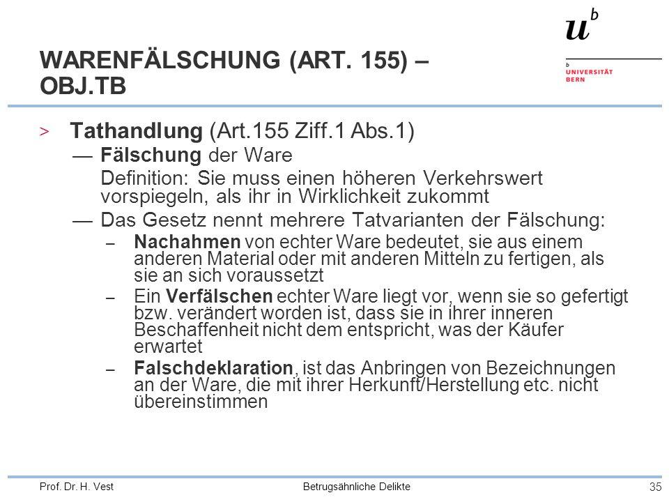 Betrugsähnliche Delikte 35 Prof. Dr. H. Vest WARENFÄLSCHUNG (ART. 155) – OBJ.TB > Tathandlung (Art.155 Ziff.1 Abs.1) Fälschung der Ware Definition: Si