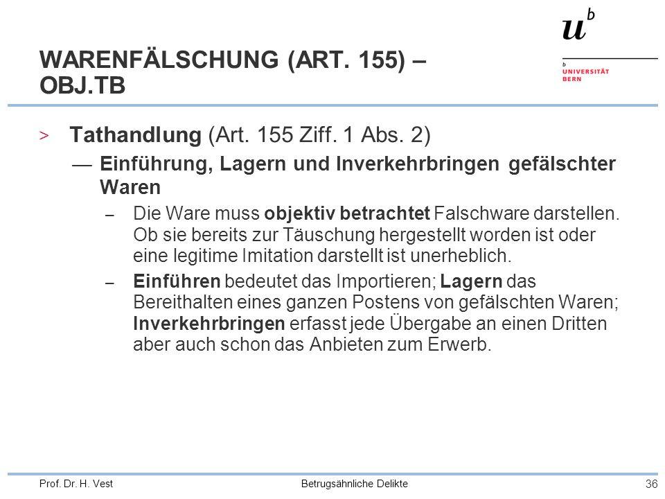 Betrugsähnliche Delikte 36 Prof. Dr. H. Vest WARENFÄLSCHUNG (ART. 155) – OBJ.TB > Tathandlung (Art. 155 Ziff. 1 Abs. 2) Einführung, Lagern und Inverke