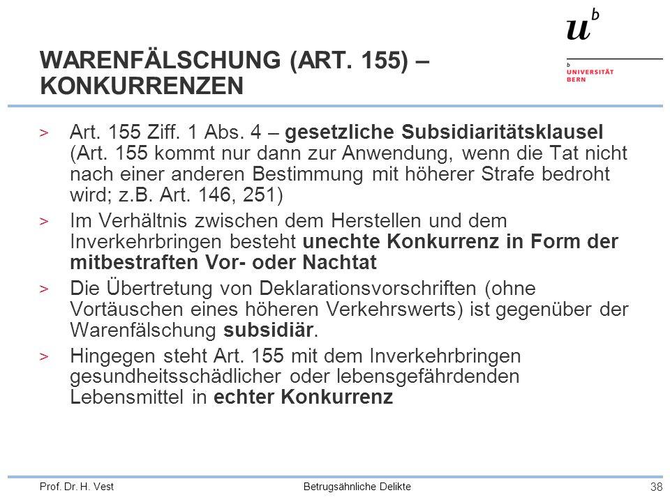 Betrugsähnliche Delikte 38 Prof. Dr. H. Vest WARENFÄLSCHUNG (ART. 155) – KONKURRENZEN > Art. 155 Ziff. 1 Abs. 4 – gesetzliche Subsidiaritätsklausel (A