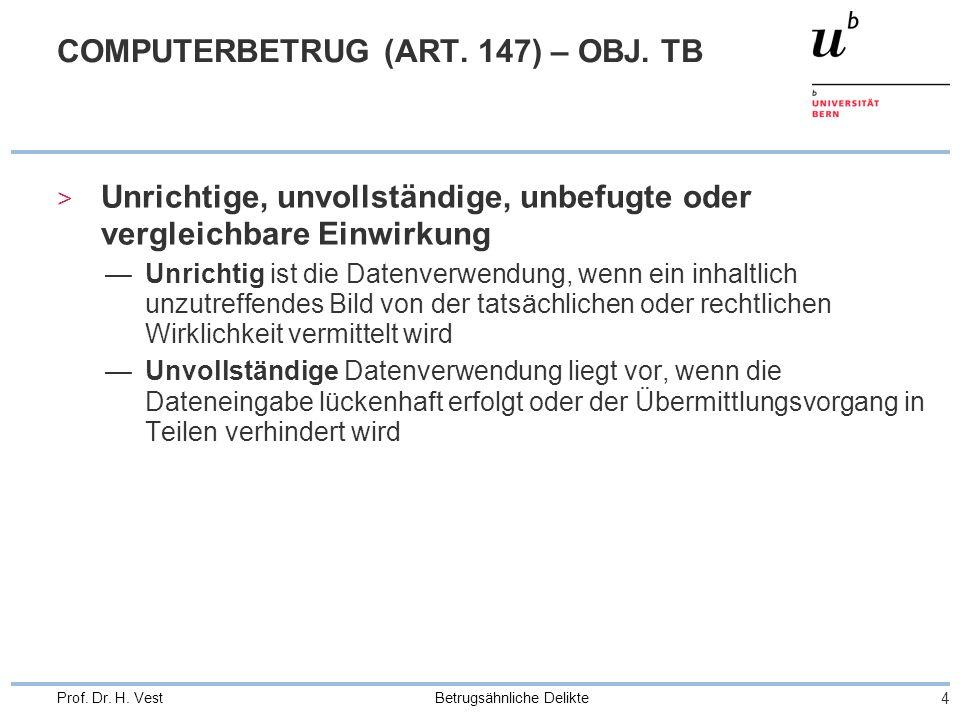 Betrugsähnliche Delikte 4 Prof. Dr. H. Vest COMPUTERBETRUG (ART. 147) – OBJ. TB > Unrichtige, unvollständige, unbefugte oder vergleichbare Einwirkung