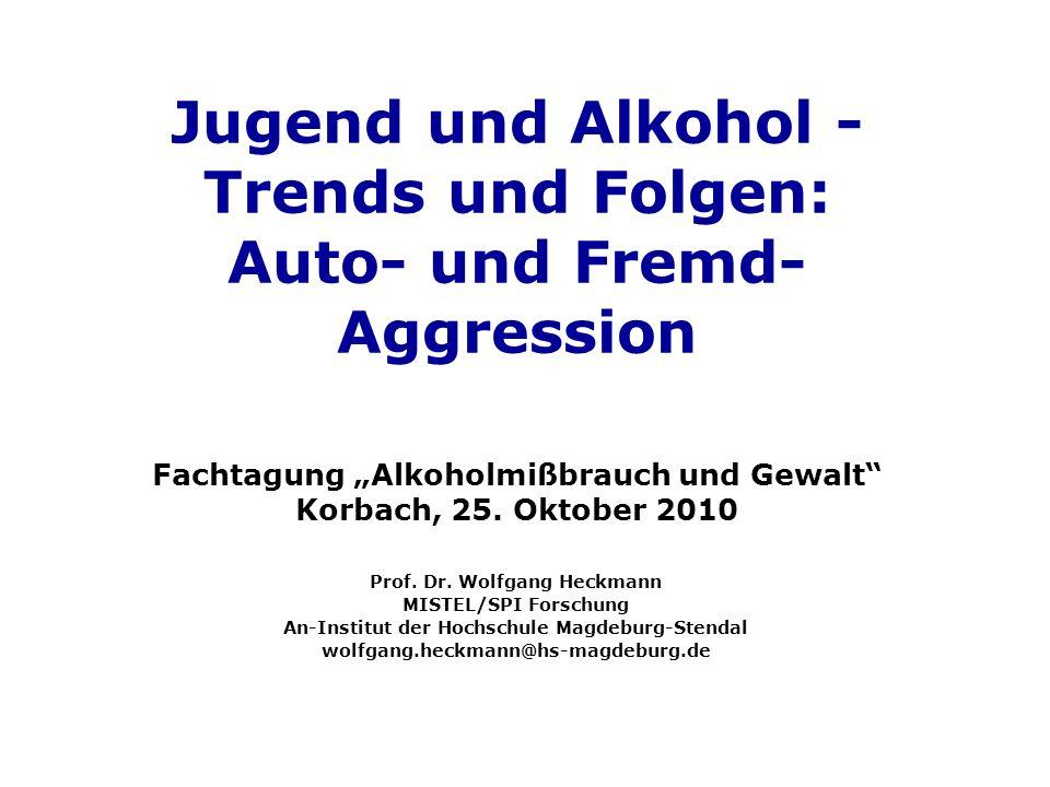 Jugend und Alkohol - Trends und Folgen: Auto- und Fremd- Aggression Fachtagung Alkoholmißbrauch und Gewalt Korbach, 25. Oktober 2010 Prof. Dr. Wolfgan