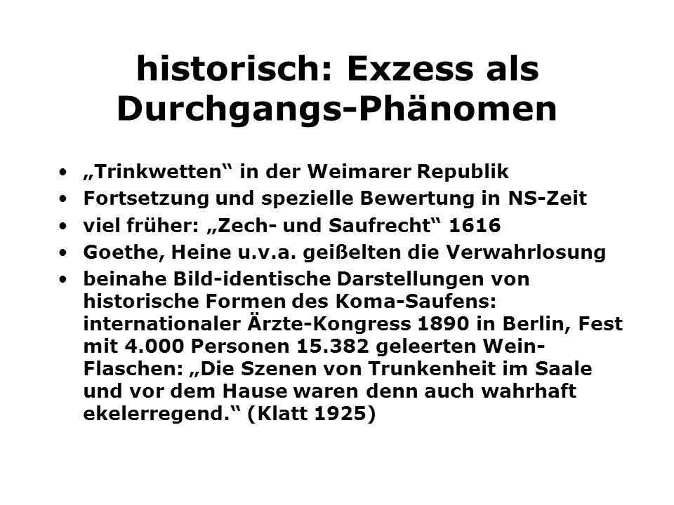 historisch: Exzess als Durchgangs-Phänomen Trinkwetten in der Weimarer Republik Fortsetzung und spezielle Bewertung in NS-Zeit viel früher: Zech- und