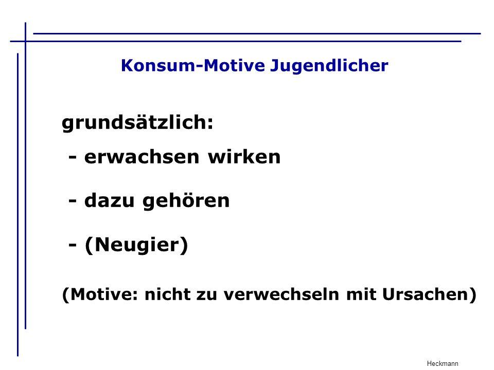 Konsum-Motive Jugendlicher Heckmann grundsätzlich: - erwachsen wirken - dazu gehören - (Neugier) (Motive: nicht zu verwechseln mit Ursachen)