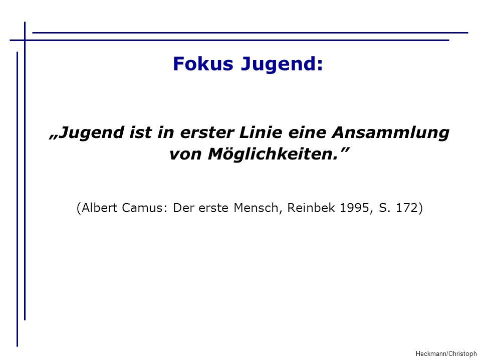 Fokus Jugend: Heckmann/Christoph Jugend ist in erster Linie eine Ansammlung von Möglichkeiten. (Albert Camus: Der erste Mensch, Reinbek 1995, S. 172)