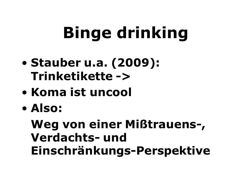 Binge drinking Stauber u.a. (2009): Trinketikette -> Koma ist uncool Also: Weg von einer Mißtrauens-, Verdachts- und Einschränkungs-Perspektive