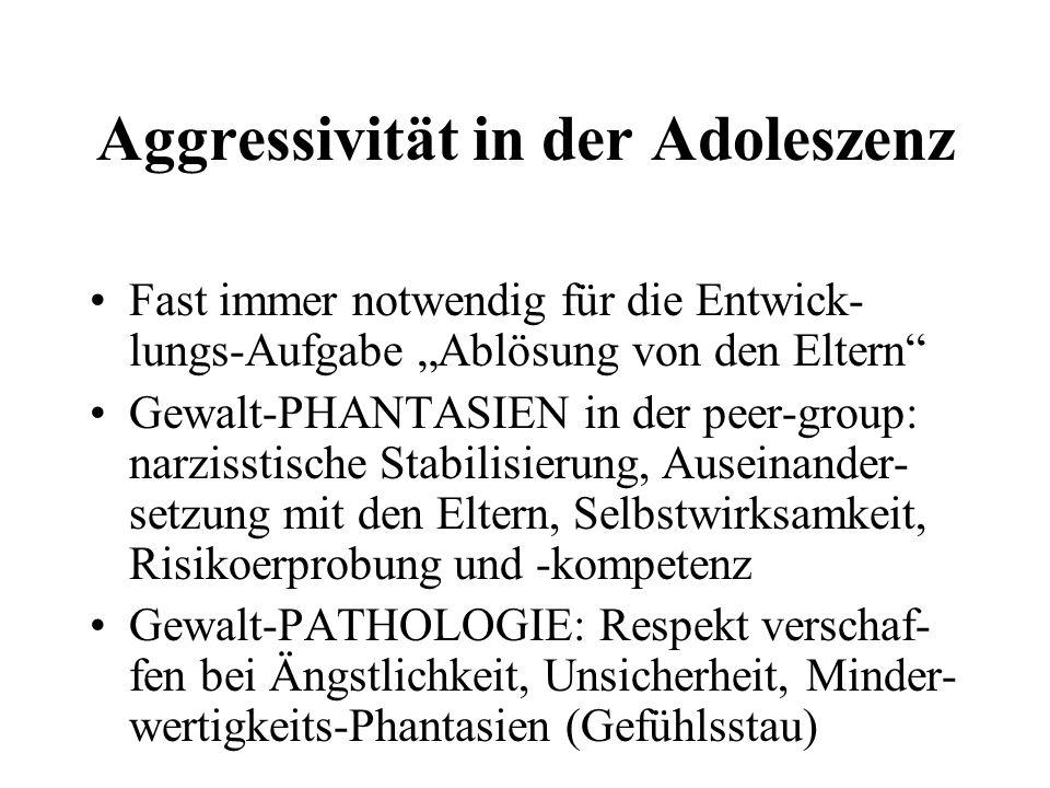 Aggressivität in der Adoleszenz Fast immer notwendig für die Entwick- lungs-Aufgabe Ablösung von den Eltern Gewalt-PHANTASIEN in der peer-group: narzi