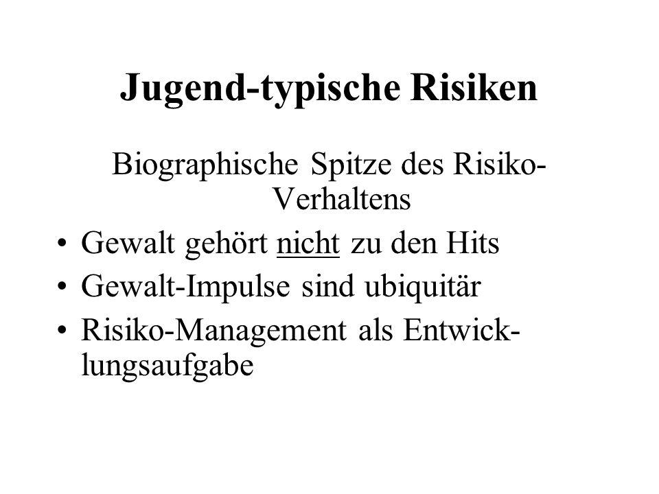 Jugend-typische Risiken Biographische Spitze des Risiko- Verhaltens Gewalt gehört nicht zu den Hits Gewalt-Impulse sind ubiquitär Risiko-Management al