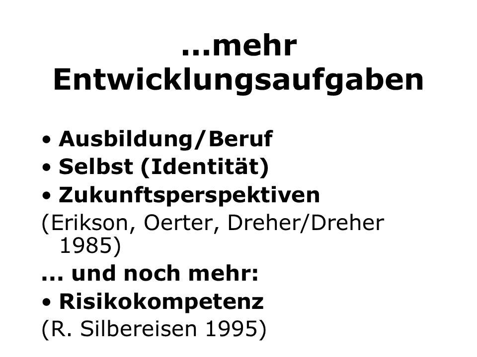 ...mehr Entwicklungsaufgaben Ausbildung/Beruf Selbst (Identität) Zukunftsperspektiven (Erikson, Oerter, Dreher/Dreher 1985)... und noch mehr: Risikoko