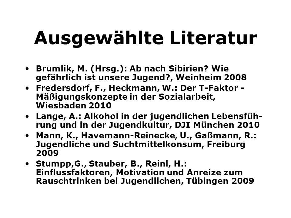 Ausgewählte Literatur Brumlik, M. (Hrsg.): Ab nach Sibirien? Wie gefährlich ist unsere Jugend?, Weinheim 2008 Fredersdorf, F., Heckmann, W.: Der T-Fak