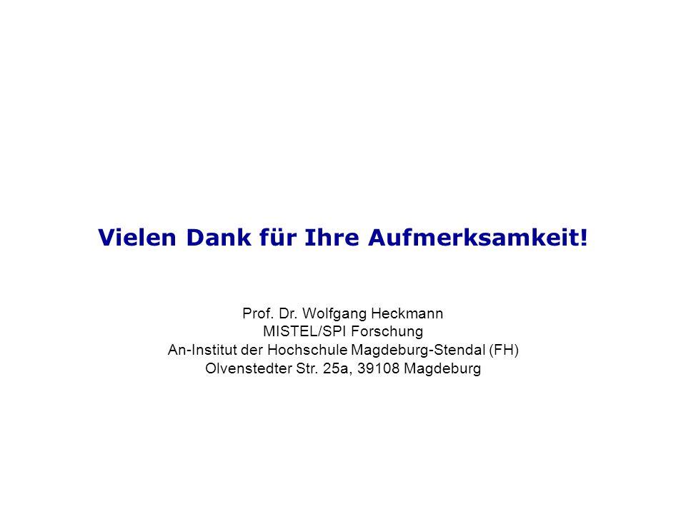 Vielen Dank für Ihre Aufmerksamkeit! Prof. Dr. Wolfgang Heckmann MISTEL/SPI Forschung An-Institut der Hochschule Magdeburg-Stendal (FH) Olvenstedter S