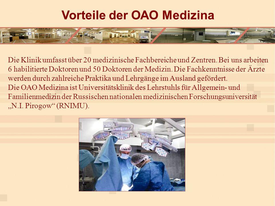 Die Klinik umfasst über 20 medizinische Fachbereiche und Zentren.