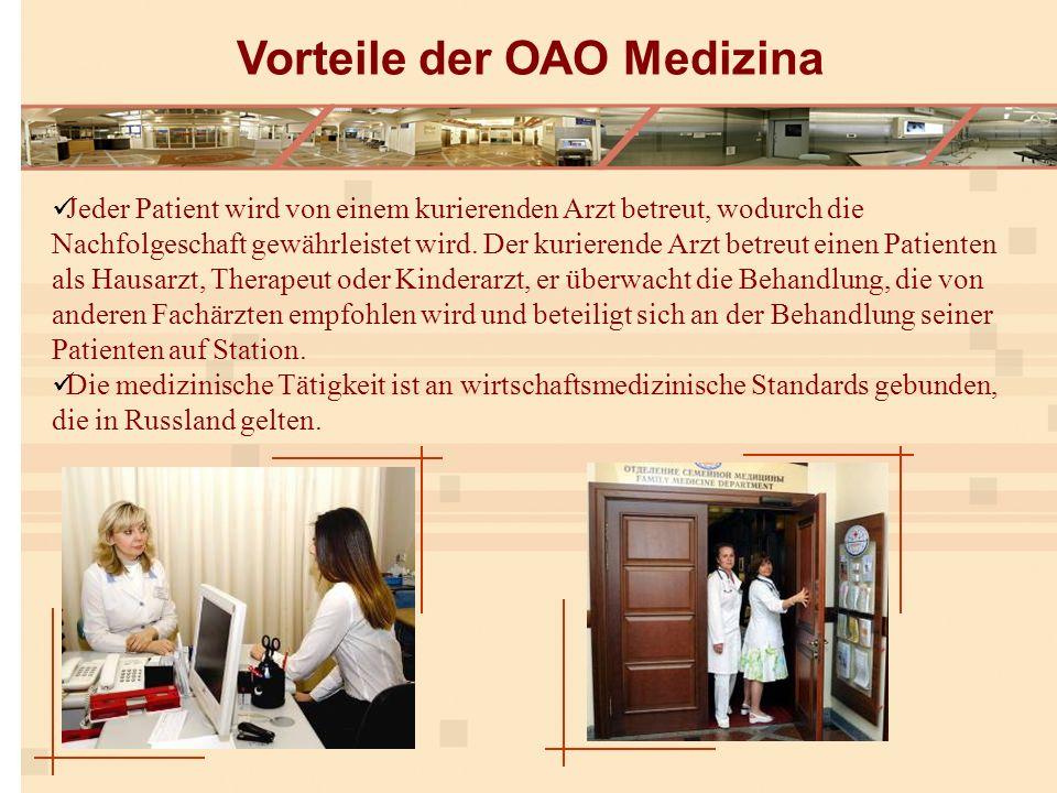 Jeder Patient wird von einem kurierenden Arzt betreut, wodurch die Nachfolgeschaft gewährleistet wird.