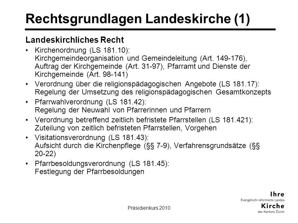 Präsidienkurs 20104 Rechtsgrundlagen Landeskirche (1) Landeskirchliches Recht Kirchenordnung (LS 181.10): Kirchgemeindeorganisation und Gemeindeleitun