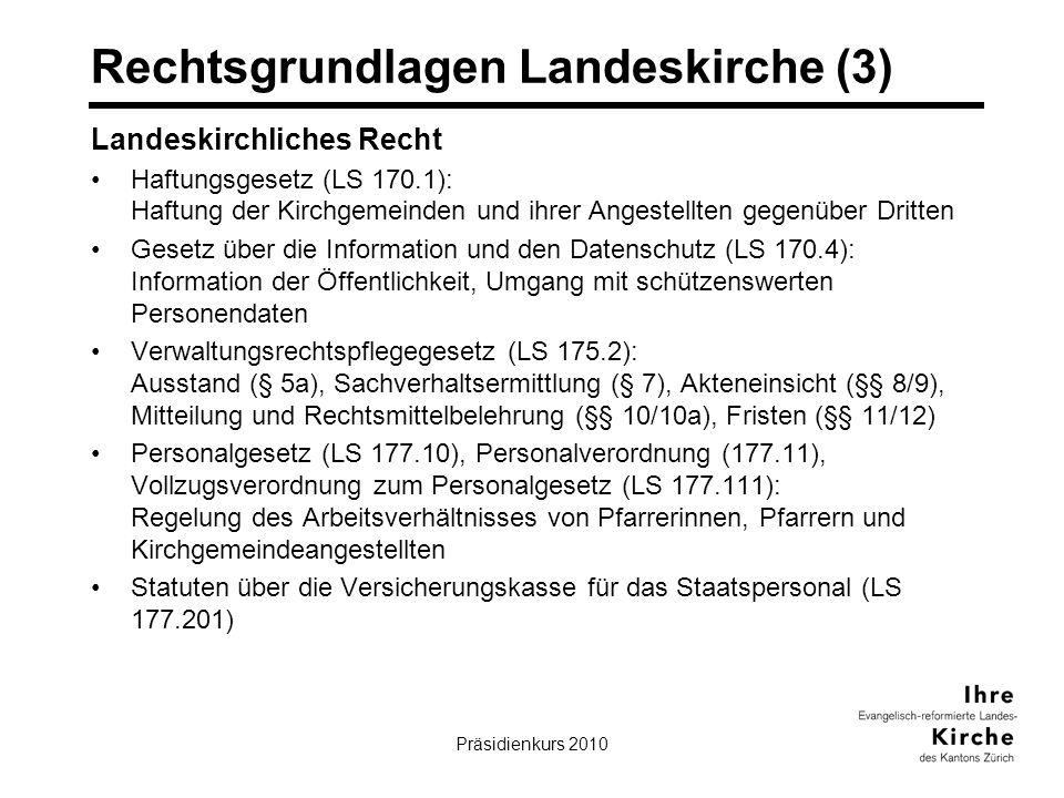 Präsidienkurs 20106 Rechtsgrundlagen Landeskirche (3) Landeskirchliches Recht Haftungsgesetz (LS 170.1): Haftung der Kirchgemeinden und ihrer Angestellten gegenüber Dritten Gesetz über die Information und den Datenschutz (LS 170.4): Information der Öffentlichkeit, Umgang mit schützenswerten Personendaten Verwaltungsrechtspflegegesetz (LS 175.2): Ausstand (§ 5a), Sachverhaltsermittlung (§ 7), Akteneinsicht (§§ 8/9), Mitteilung und Rechtsmittelbelehrung (§§ 10/10a), Fristen (§§ 11/12) Personalgesetz (LS 177.10), Personalverordnung (177.11), Vollzugsverordnung zum Personalgesetz (LS 177.111): Regelung des Arbeitsverhältnisses von Pfarrerinnen, Pfarrern und Kirchgemeindeangestellten Statuten über die Versicherungskasse für das Staatspersonal (LS 177.201)