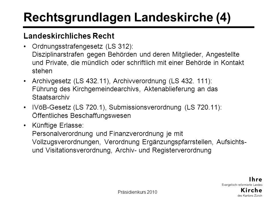 Präsidienkurs 20107 Rechtsgrundlagen Landeskirche (4) Landeskirchliches Recht Ordnungsstrafengesetz (LS 312): Disziplinarstrafen gegen Behörden und deren Mitglieder, Angestellte und Private, die mündlich oder schriftlich mit einer Behörde in Kontakt stehen Archivgesetz (LS 432.11), Archivverordnung (LS 432.