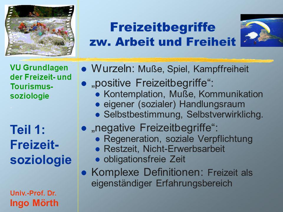 VU Grundlagen der Freizeit- und Tourismus- soziologie. Teil 1: Freizeit- soziologie Univ.-Prof. Dr. Ingo Mörth Freizeitbegriffe zw. Arbeit und Freihei