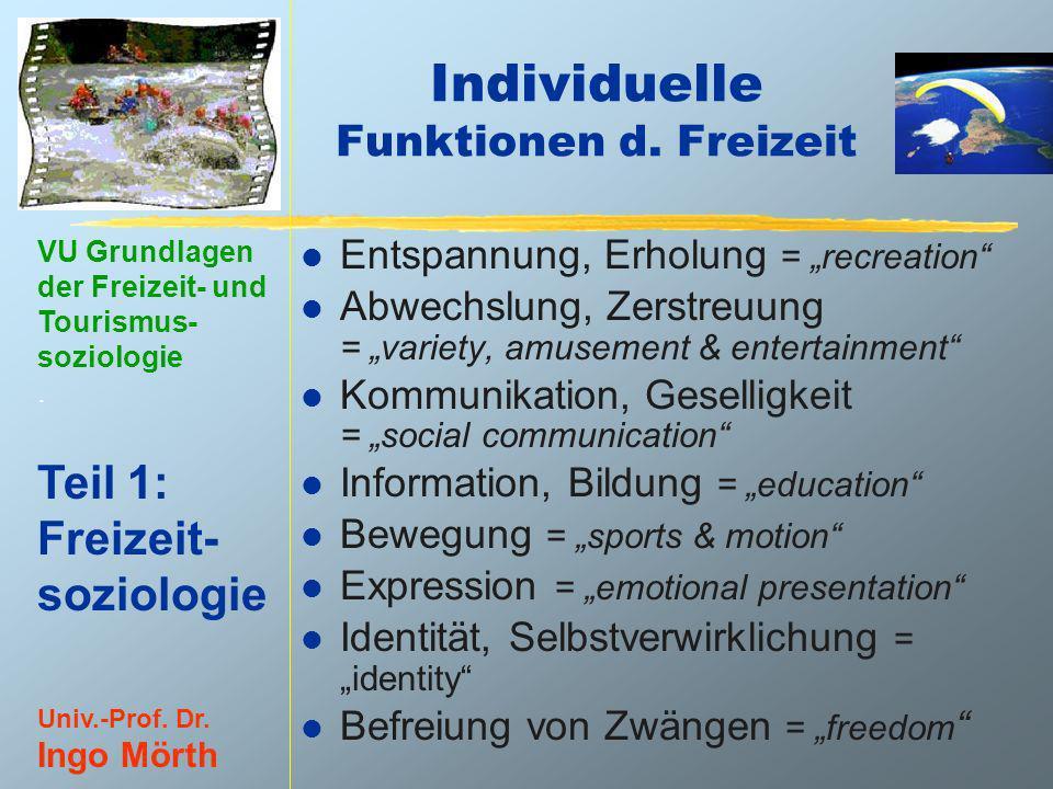 VU Grundlagen der Freizeit- und Tourismus- soziologie. Teil 1: Freizeit- soziologie Univ.-Prof. Dr. Ingo Mörth Individuelle Funktionen d. Freizeit l E