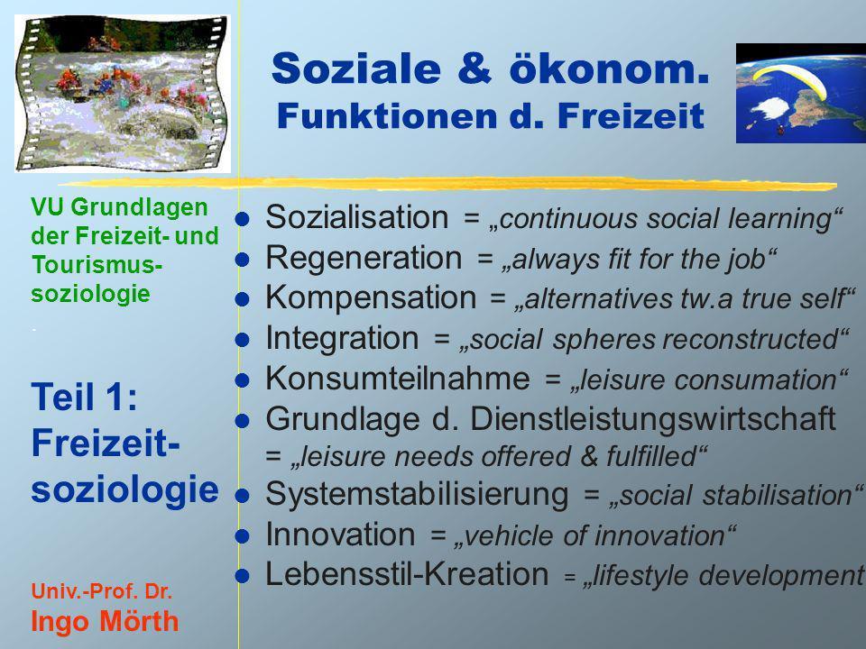 VU Grundlagen der Freizeit- und Tourismus- soziologie. Teil 1: Freizeit- soziologie Univ.-Prof. Dr. Ingo Mörth Soziale & ökonom. Funktionen d. Freizei