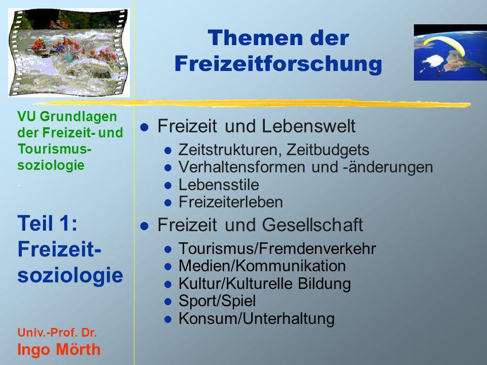 VU Grundlagen der Freizeit- und Tourismus- soziologie. Teil 1: Freizeit- soziologie Univ.-Prof. Dr. Ingo Mörth Themen der Freizeitforschung l Freizeit