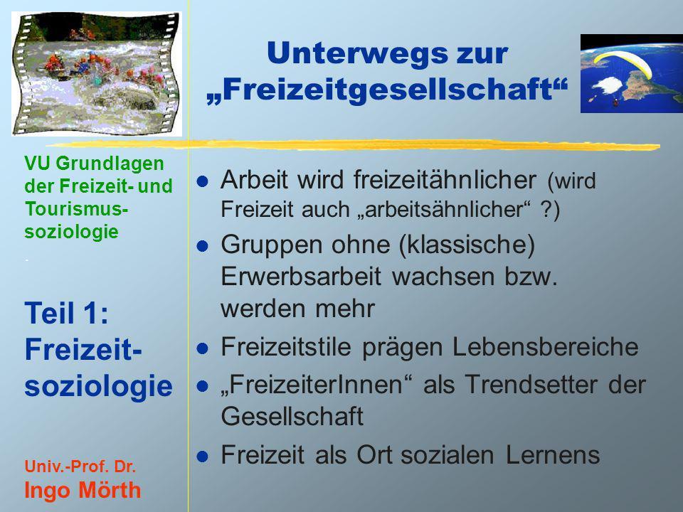 VU Grundlagen der Freizeit- und Tourismus- soziologie. Teil 1: Freizeit- soziologie Univ.-Prof. Dr. Ingo Mörth Unterwegs zur Freizeitgesellschaft l Ar