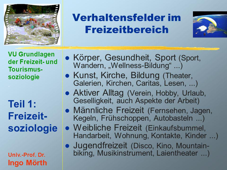 VU Grundlagen der Freizeit- und Tourismus- soziologie. Teil 1: Freizeit- soziologie Univ.-Prof. Dr. Ingo Mörth Verhaltensfelder im Freizeitbereich l K