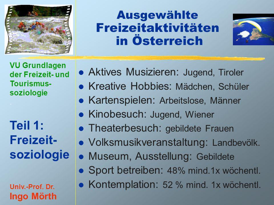 VU Grundlagen der Freizeit- und Tourismus- soziologie. Teil 1: Freizeit- soziologie Univ.-Prof. Dr. Ingo Mörth Ausgewählte Freizeitaktivitäten in Öste
