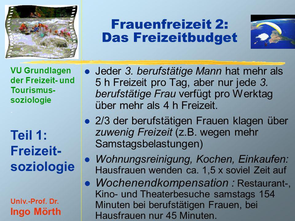 VU Grundlagen der Freizeit- und Tourismus- soziologie. Teil 1: Freizeit- soziologie Univ.-Prof. Dr. Ingo Mörth Frauenfreizeit 2: Das Freizeitbudget l