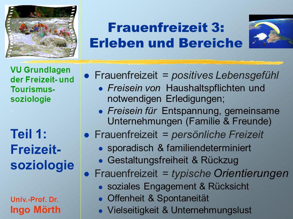 VU Grundlagen der Freizeit- und Tourismus- soziologie. Teil 1: Freizeit- soziologie Univ.-Prof. Dr. Ingo Mörth Frauenfreizeit 3: Erleben und Bereiche