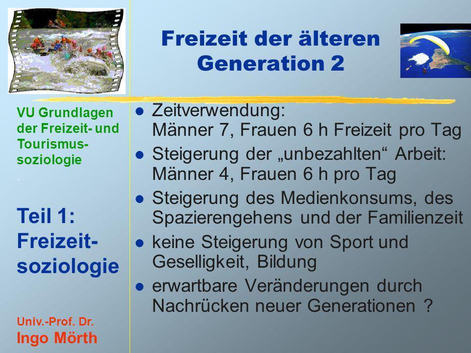 VU Grundlagen der Freizeit- und Tourismus- soziologie. Teil 1: Freizeit- soziologie Univ.-Prof. Dr. Ingo Mörth Freizeit der älteren Generation 2 l Zei