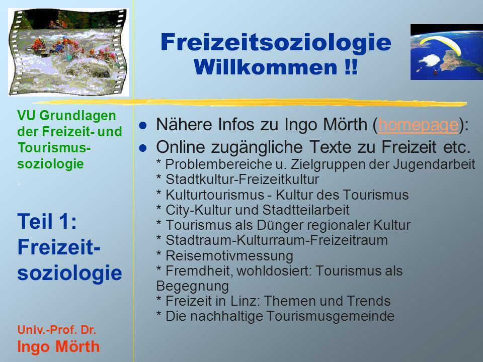 VU Grundlagen der Freizeit- und Tourismus- soziologie. Teil 1: Freizeit- soziologie Univ.-Prof. Dr. Ingo Mörth Freizeitsoziologie Willkommen !! l Nähe