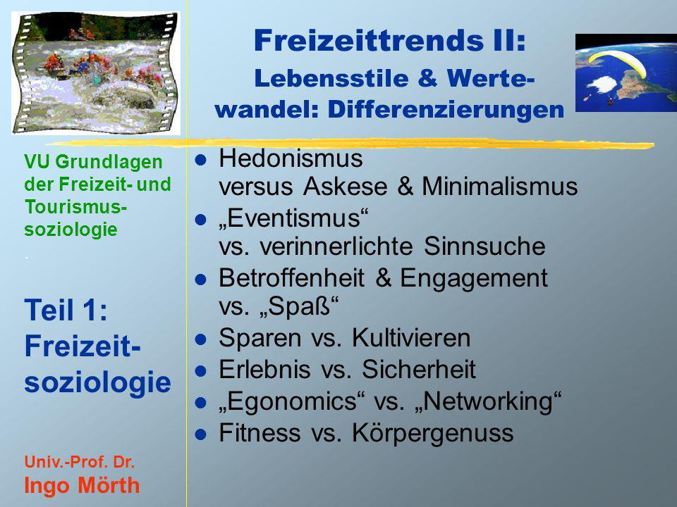 VU Grundlagen der Freizeit- und Tourismus- soziologie. Teil 1: Freizeit- soziologie Univ.-Prof. Dr. Ingo Mörth Freizeittrends II: Lebensstile & Werte-